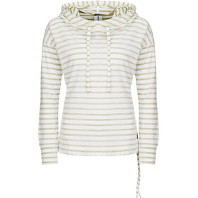 super.natural Funnel Hoodie Printed Femme, fresh white/bamboo fine stripe print